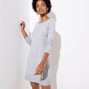 Ann Taylor Loft L Gray speckled sweater dress